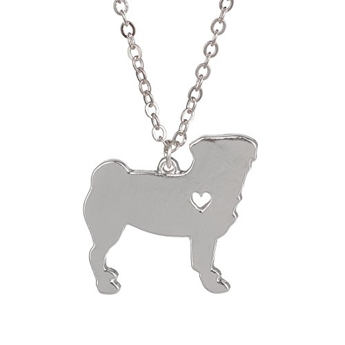 Pug Necklace - Silver Pug Necklace Dog Pendant Jewelry Breed Pet Jewelry Memorial Gift Hunters lovers