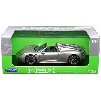 Welly 18051CW-S Porsche 918 Spyder No Top Silver 1/18 Diecast Model Car