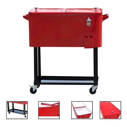 Review Of General 80-quart Portable Rolling Ice Chest Cooler Cart Patio Party Drink Ice (Red)