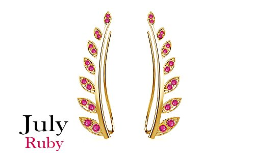 Mothers Day Jewelry Gifts Simulated Ruby Ear Crawler Cuff Earrings 14k Yellow Gold Over Sterling Silver Climber Studs Olive Leaf