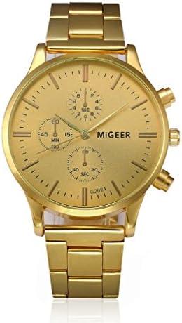 ビッグプロモーション。auwer Mens Luxury Fashion Crocodile Faux LeatherアナログWatch Wrist Watches AS show Golder