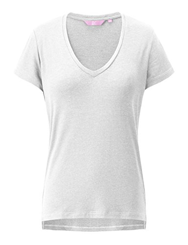 REGNA X Love Coated Womens White Casual V-Neck Short Sleeve Solid Loose (White Coated Cotton)