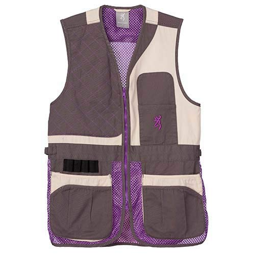 Browning 3050696704 Women's Trapper Creek Mesh Shooting Vest, Cream/Plum/Gray, X-Large