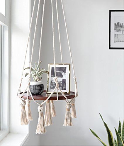 Mkono Hanging Shelf Macrame Plant Hanger Flower Pot Holder Boho Home Decor (with Wood Plate) by Mkono (Image #1)
