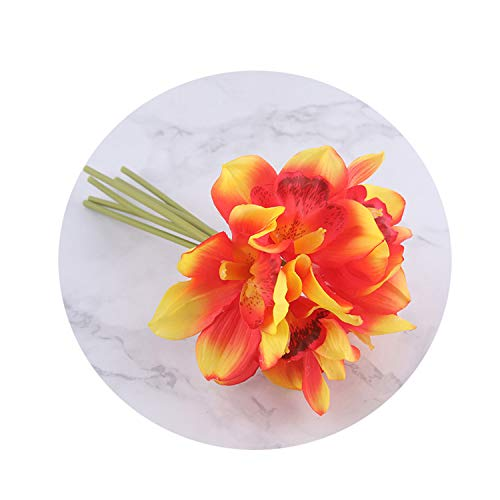 - White Orchid Artificial Flowers Real Touch Cymbidium Flower Bridal Hand Bouquet Wedding Flowers Decoration for Table Arrangement Orange