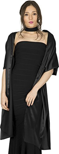 Layers Ladies Chiffon Silk Scarf - BlackButterfly Satin Shawl Bridesmaid Wedding Wrap Scarf (Black)