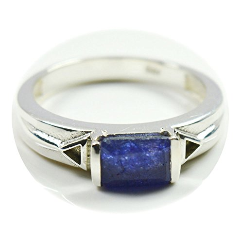 55Carat Natural Blue sapphire Ring Sterling Silver Handmade Princess Birthstone Size 4,5,6,7,8,9,10,11,12
