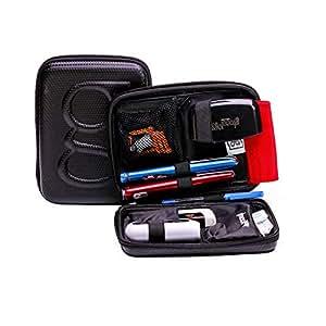 Glucology® Diabetic Travel Case - Organizer for Blood Sugar Test Strips, Medication, Glucose Meter, Pills, Tablets, Pens, Insulin Syringes, Needles, Lancets - Hard Shell Carrying Pack - Standard, Black
