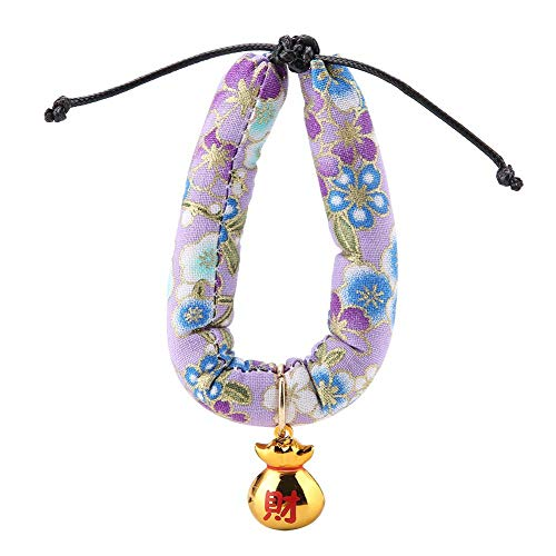 Fashion Japanese-Style Collar with Bell for Cats Small Dog Poodles Pattern Print Collar(S-Purple) -