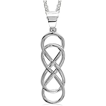 Large Double Infinity Symbol Charm and Chain, 18 inch total length, 10mm x 30mm in Sterling Silver