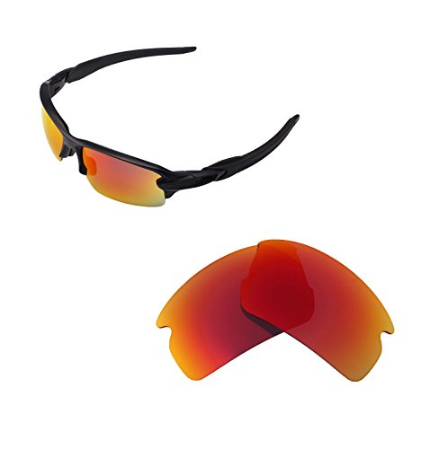1afd530a23 Walleva Replacement Lenses for Oakley Flak 2.0 Sunglasses - Multiple  Options Available (Fire Red)