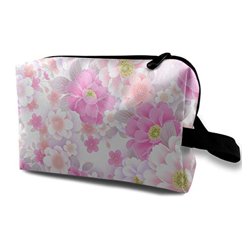 Flower Pattern Cosmetic Bags Makeup Organizer Bag Pouch Zipper Purse Handbag Clutch Bag