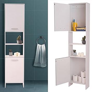 IDMarket - Meuble colonne salle de bain en bois design blanc: Amazon ...