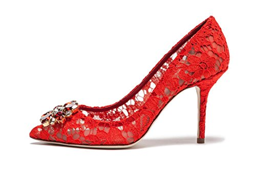 uBeauty Womens High Heels Pointed Toe Sexy Lace Pumps Rhinestone Slip On Stiletto Heels Shoes for Wedding Red pJaBs7jYi