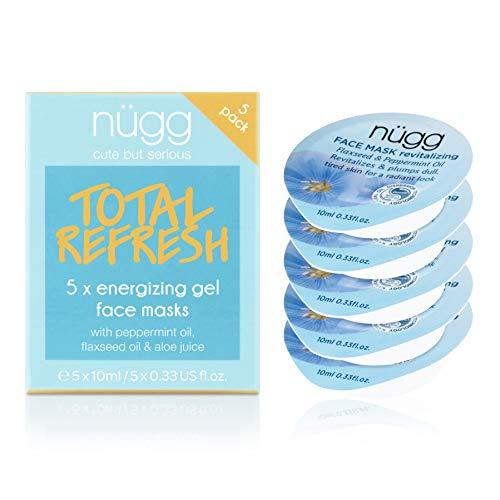 nügg Revitalizing & Cooling Face Mask to Moisturize and Refresh Skin; pack of 5 single-serve face masks; 5 x 0.33 fl. oz.
