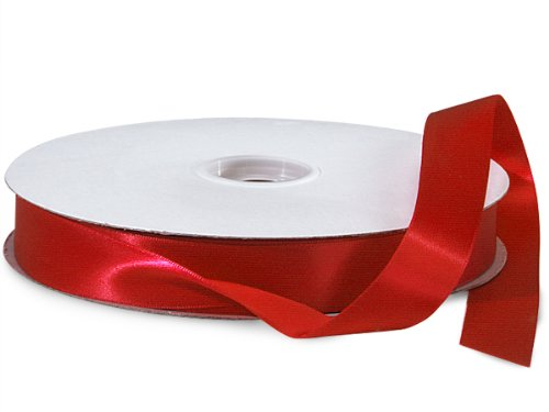 Scarlet Double Faced Satin Ribbon 7/8''x100 yds 100% Polyester (2 Spools) - WRAPS-DFS5260 by Miller Supply Inc