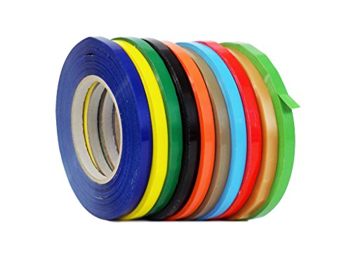 WOD UPVC-24BS Rainbow Produce Poly Bag Sealing Tape (Also Available in Multiple Sizes & Colors): 3/8 in. x 180 yds. (Pack of 8)