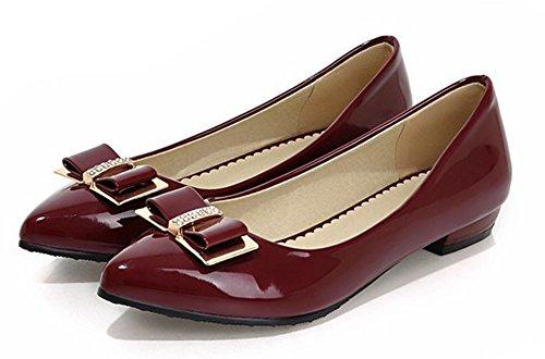 Aisun Womens Carino Antiscivolo Professionale Da Lavoro Da Ufficio Low Cut A Punta Svasata Slip On Flats Scarpe Con Fiocchi Rosso Vino