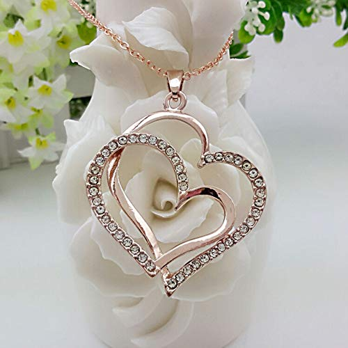 REwo6pkg Romantic Double Love Heart Rhinestone Women Pendant Necklace (Love your heart) Valentine Day Gift for Her Rose Gold