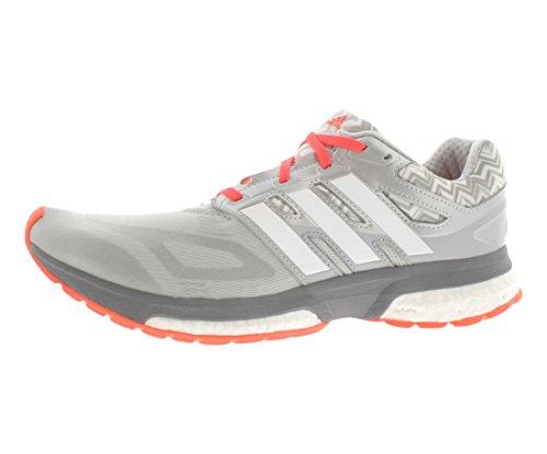 adidas Performance Women's Response Boost Techfit Running Shoe, White/Metallic Silver/Light Onix, 10 M US