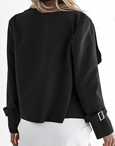 The Black amp;S Fashion Collar Woolen Turn Sleeve Womens Outerwear amp;W Jacket Long M Awxd707q