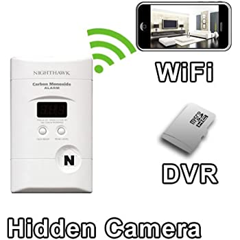 PalmVID WiFi Carbon Monoxide Detector Hidden Camera Spy Camera with Live Video Viewing