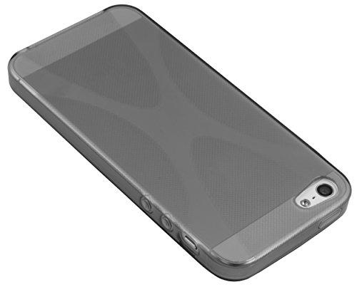 mumbi X-TPU Coque de protection pour iPhone 5 5S TPU gel silicone Noire transparente