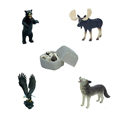 Assorted 4pcs/set of North American Animal Puzzles Toys for Toddlers Moose Bear Eagle Wolf models kids