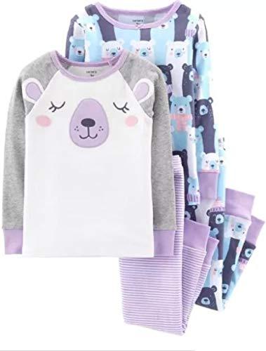 Carter's Baby Girls' 4 Pc Cotton Pj (12 Months, Purple Bear) ()