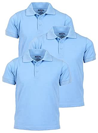 Beverly Hills Polo Club 3 Pack of Boys' Short Sleeve Pique Uniform Polo Shirts, Size 4, Light Blue