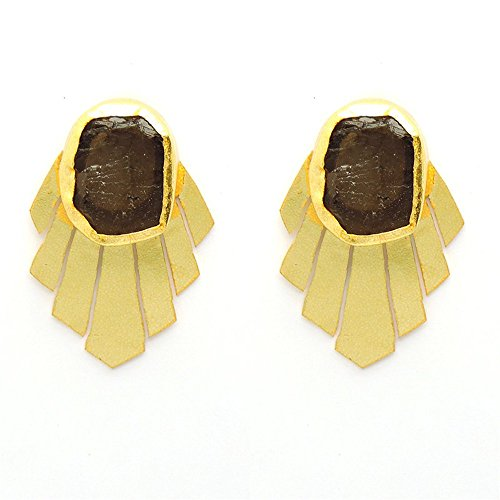 Vaidehijewellers01 Beautiful Designer Smoky Topaz Ruff Stone Stud Party Wear Earring for Women