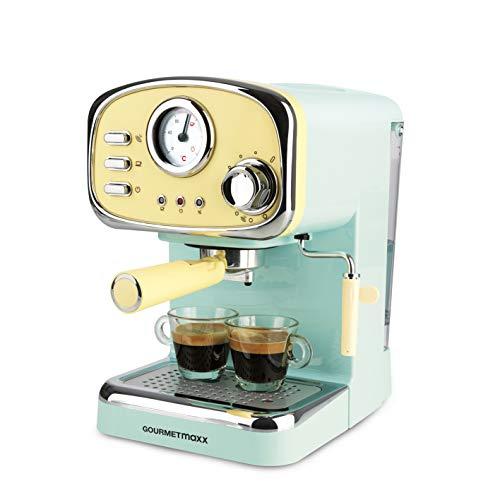 GOURMETmaxx Portafiltro eléctrico, máquina de espresso, indicador de temperatura analógico, con calentador de tazas y…