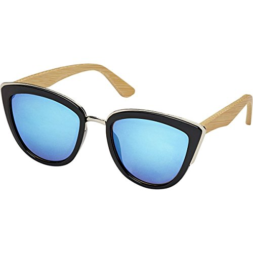 Blue Planet Eyewear Bailey Sunglasses - Polarized - Women's Black Plus Silver Accent/Natural Bamboo, One - Sunglasses Bailey