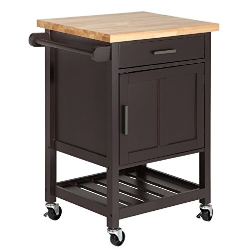 Homegear Utility Kitchen Storage Cart Island with Rubberwood Cutting Block White