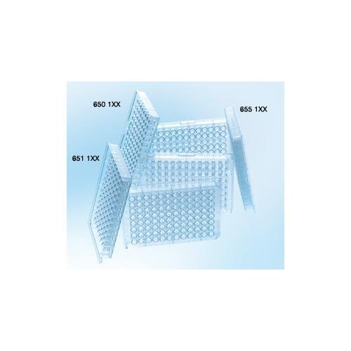 Greiner Bio-One 655101 Clear Polystyrene Microplate, Non-Sterile, Flat Bottom, 96 Well (Pack of 100)