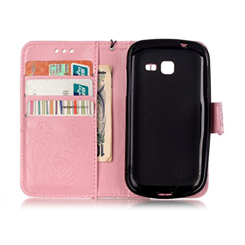 JIALUN-Personality teléfono shell Funda Samsung Galaxy S7392, con cordón, ranura para tarjeta en relieve y caja plana de diamantes para Samsung Galaxy S7392 Seguridad y Moda ( Color : Brown , Size : S Pink