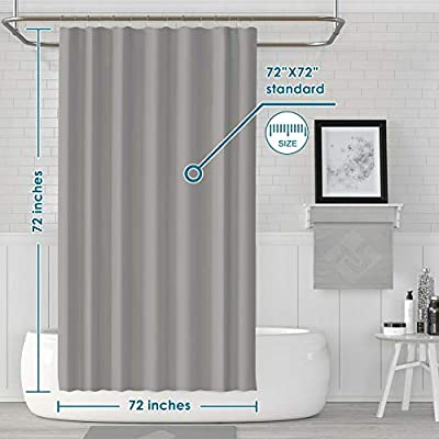 LanMeng Solid Fabric Shower Curtain Liner Water-Repellent Comes with 12 Hooks