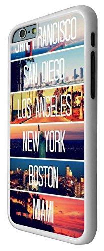 189 - US Cities New York Miami Los Angeles Design iphone 6 Plus / iphone 6 Plus 5.5'' Coque Fashion Trend Case Coque Protection Cover plastique et métal - Blanc