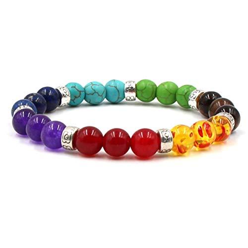 St. L'amour 7 Chakras Bracelet Reiki Healing Balancing Round Beads (Silver)