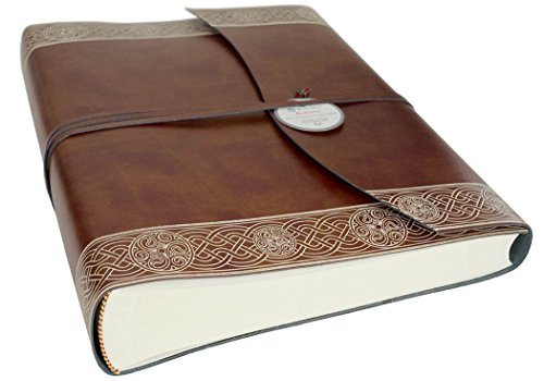 Olympia Large Celtic Brown Handmade Recycled Leather Wrap Photo Album, Classic Style Pages (30cm x 24cm x (Recycled Leather Photo)