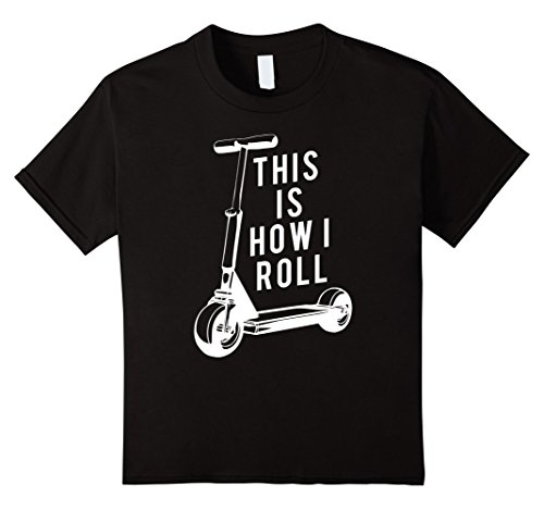 Price comparison product image Kids Fun Scooter T-Shirt, This Is How I Roll Push Scooter Tee 12 Black