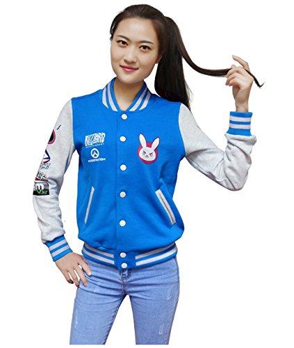 DAZCOS US Size Cotton Blue Baseball Letterman Jackets with Pockets (Women Small)