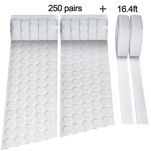 500pcs(250 Pairs) Diameter Sticky Back Hook & Loop Dots(0.78In) + 2 Rolls Sticky Hook and Loop Tape(0.78In × 16.4Ft), White Nylon Self Adhesive Dots and Tapes Fabric Fastener - Loop Fasteners Self Adhesive