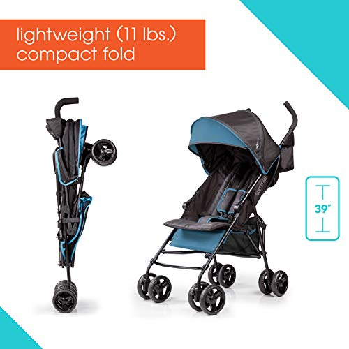 411%2BC r uZL - Summer 3Dmini Convenience Stroller, Blue/Black – Lightweight Infant Stroller With Compact Fold, Multi-Position Recline, Canopy With Pop Out Sun Visor And More – Umbrella Stroller For Travel And More