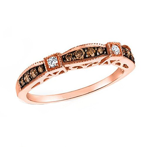 (Ginger Lyne Collection Chocolate CZ Bridal Wedding Ring Band Rose Gold Over 925 Sterling)