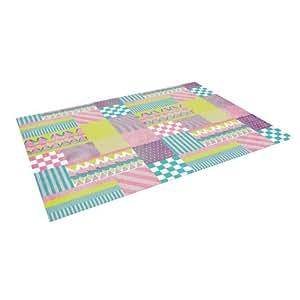 "Kess InHouse Louise Machado ""Patchwork"" Purple Green Indoor/Outdoor Floor Mat, 4-Feet by 5-Feet"