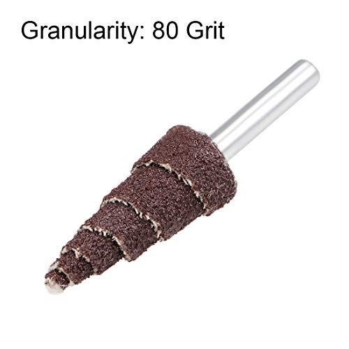 80 grit Sanding 16mm Abrasive fin Wheel with Cone Shape 5 Pieces 1//8 inch Shank for deburring polishing