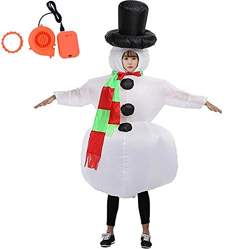 HUAYUARTS Snowman Inflatable Christmas Costume Women Blow up Costume Men Halloween Cosplay