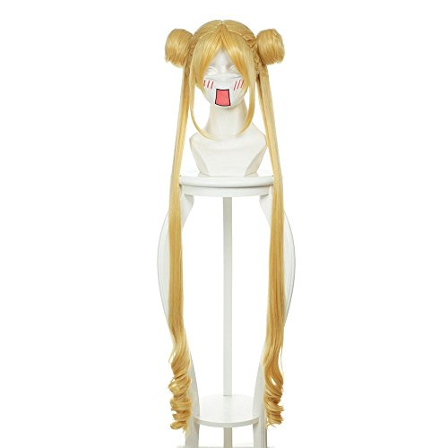 Probeauty Long Wave Anime Cosplay Wig with Buns for Sailor Moon Tsukino Usagi (Flaxen Gold)