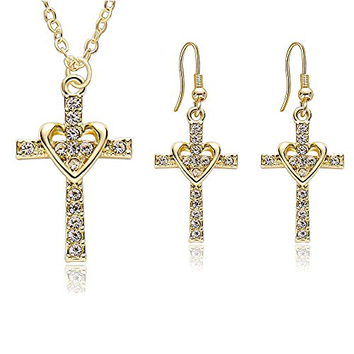 SENFAI Heart with Cross Crystal Personality Pendant Necklace for Charm Women Girls (Gold Necklace + Earings) ()